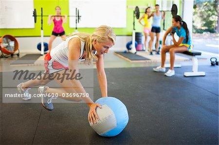 Group of Teenagers Exercising in Gym, Lake Oswego, Oregon, USA