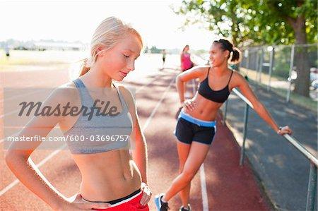 Teenagers on Race Track, Lake Oswego, Oregon, USA