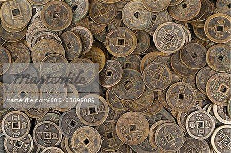 Vieilles pièces de monnaie, marché aux puces de Panjiayuan Chaoyang District, Beijing, Chine