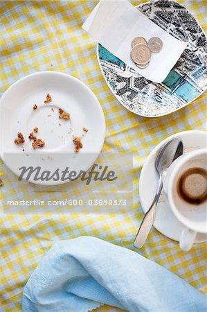 Plats et pointe sur la Table de café, Vancouver, Colombie-Britannique, Canada