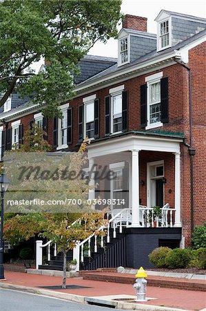 Maisons en rangée, Front Royal, Virginia, USA