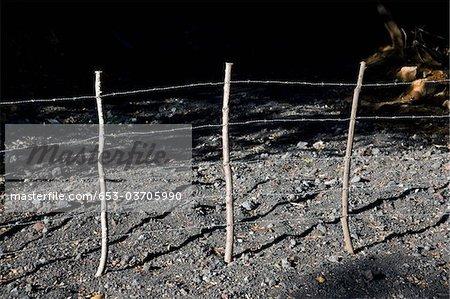 Détail d'une clôture de barbelés dans la nuit