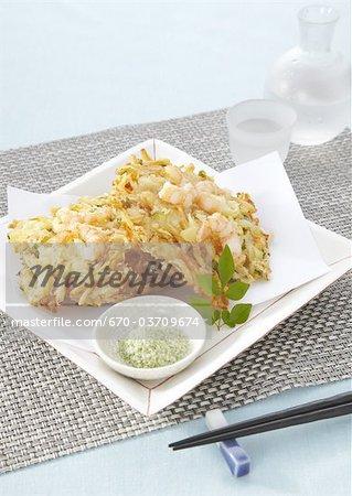 Mixed vegetable and seafood tempura