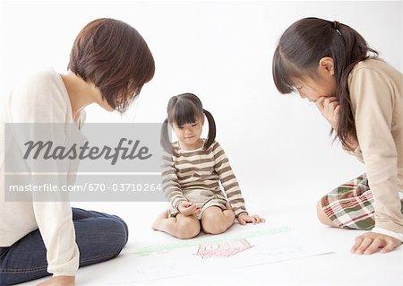 Mère et enfants, un dessin
