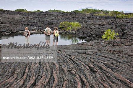 Galapagos Islands, A lava rock pool beside  pahoehoe  lava (named after the Hawaiian for  rope') on Fernandina Island.