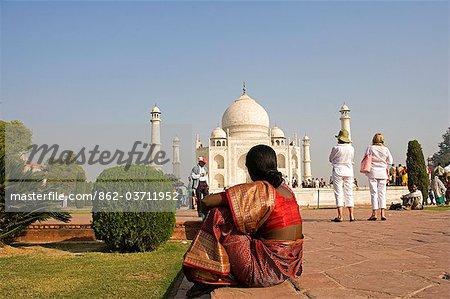 Indian visitors to the Taj Mahal,Agra. India