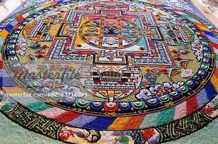 Detail of a Mandala. 'Mandala'  from the Indian language of Sanskrit meaning 'circle'. Diskit, Nubra Valley, Ladakh, India