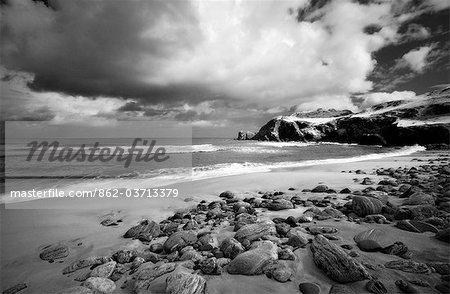 Image infrarouge de Dalmore beach, île de Lewis, Hébrides, en Écosse, Royaume-Uni