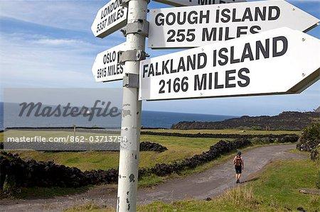 Tristan Da Cunha Island, settlement capital of Edinburgh. A sign post indicating its nearest neighbours, the Falklands.