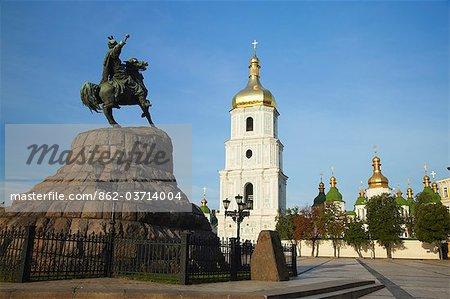 Statue outside St Sophia's Cathedral, Kiev, Ukraine