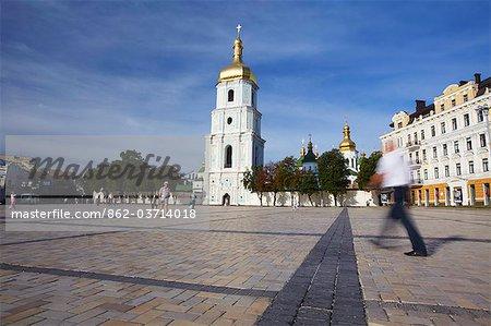 People walking past St Sophia's Cathedral, Kiev, Ukraine