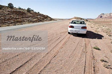 Car on Shoulder of Road, Navajo Indian Reservation, Arizona, USA