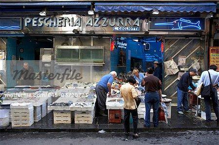 Fish market stall, Naples.