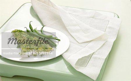Wolfsbarsch mit zerdrückte Erbsen & grüne Bohnen