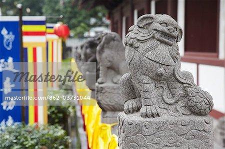 Statues de Lions à Guangxiao Temple, Guangzhou, Guangdong Province, Chine