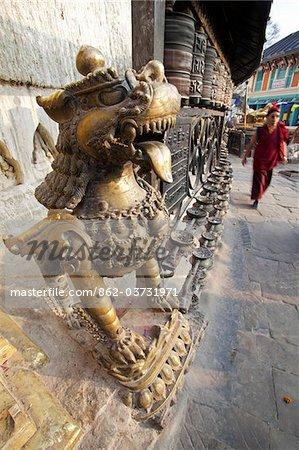 Népal, Katmandou, Temple de Swayambunath (Monkey Temple) se trouve un sur une grande colline avec des vues superbes sur la vallée de Katmandou