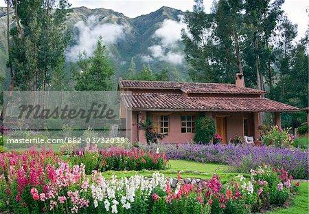 Peru. One of the villas at Urubamba Villas, a small up-market tourist establishment, close to Urubamba in the Sacred Valley.