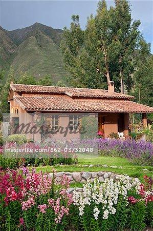 Peru, One of the attractive villas at Urubamba Villas, set in beautiful gardens a short distance from Urubamba.