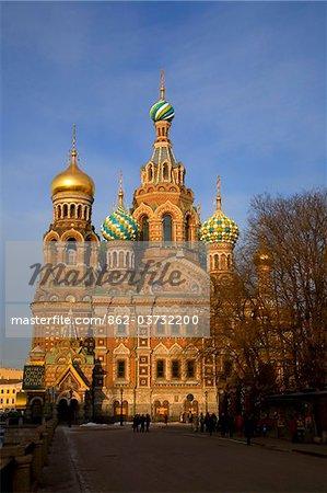 Russie, Saint-Pétersbourg ; L'église restaurée du Christ Sauveur, également connu comme église sur le sang versé