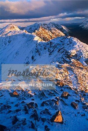 Traversing the  Aonach Eagach Ridge above Glencoe, Scottish Highlands