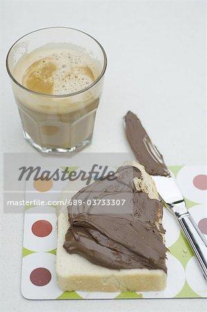 Chocolate spread on toast and Latte Macchiato