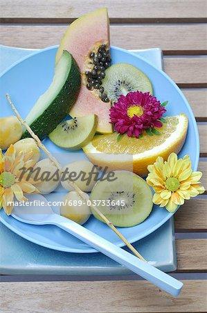 Plaque avec fruits et fleurs