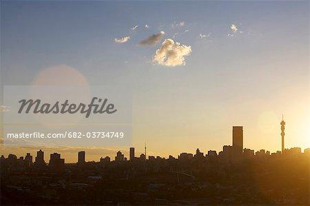Vue des toits de la ville de Johannesburg, la Province de Gauteng, Afrique du Sud