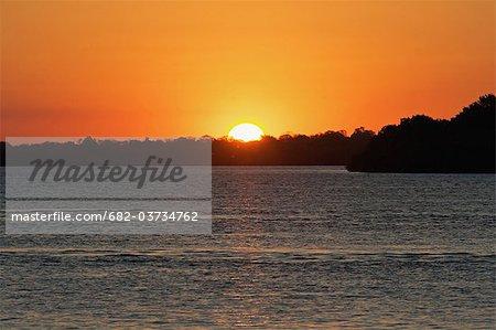 Sunset over Zambezi River, Matetsi Game Reserve, Zimbabwe