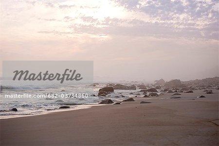 Superbe coucher de soleil, Bettys Bay, Western Cape Province, Afrique du Sud