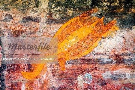 Australie, Northern Territory, Parc National de Kakadu. Art rupestre aborigène (gunbim) sur le site sacré autochtone de Ubirr. (PR)