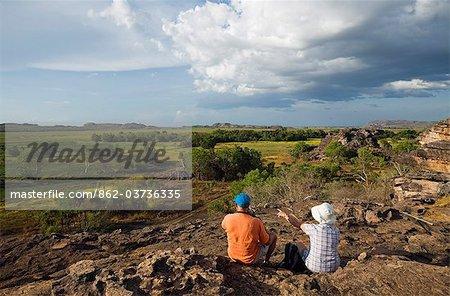Australie, Northern Territory, Parc National de Kakadu. Donnant sur la plaine d'inondation de Nadab au site d'Ubirr autochtone. (PR)