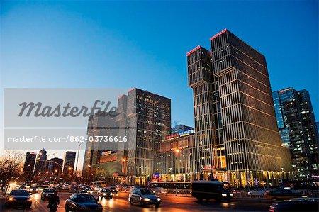 China, Beijing, Wanda Plaza commercial centre and city skyline
