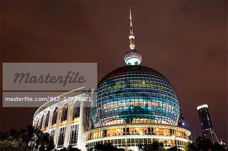 China, Shanghai, Pudong neuer Bereich, International Convention Centre, Oriental Pearl Tower und Pudong skyline