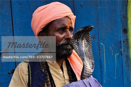 Snake Charmer with Indian Cobra, Varanasi, Varanasi District, Uttar Pradesh, India