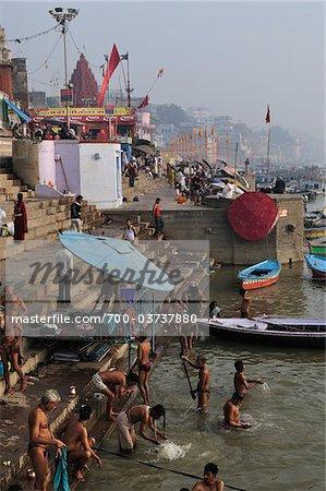 Ghats, River Ganges, Varanasi, Varanasi District, Uttar Pradesh, India