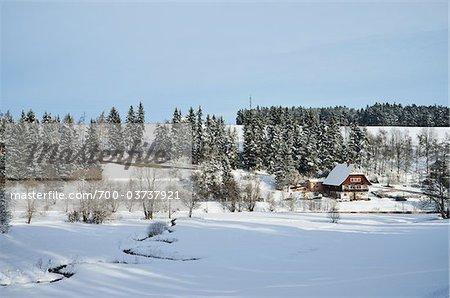 House in Winter, near Koenigsfeld, Black Forest, Baden-Wurttemberg, Germany