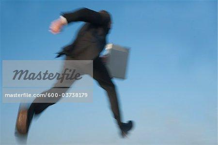 Businessman Jumping, Mannheim, Baden-Wurttemberg, Germany