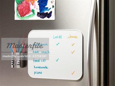 To Do-Liste auf Kühlschrank