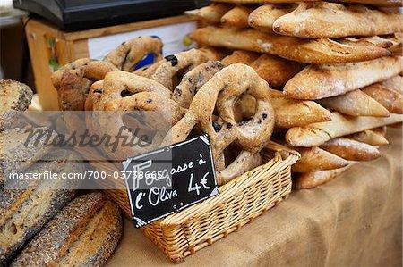 Fougasse am Markt stehen, AIX Bouches-du-Rhone, Provence, Frankreich