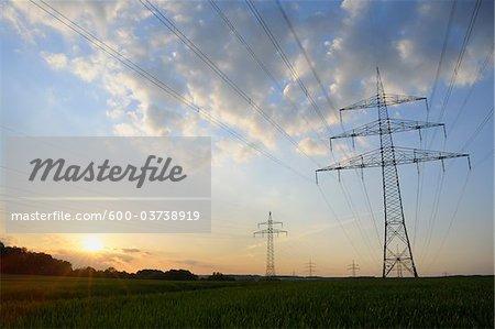 Electricity Pylon at Sunset, Unterwittbach, Bavaria, Germany