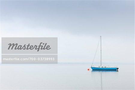 Sailboat on Lake Chiemsee, Bavaria, Germany