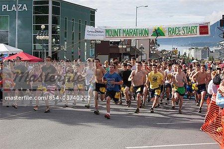 The start of the 2010 Boys and Girls Mt. Marathon Race in Seward on July 4th, Kenai Peninsula, Southcentral Alaska, Summer