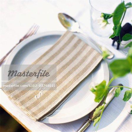 Eine Serviette auf einem Teller.