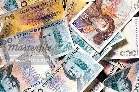 A bunch of Swedish bills, close-up.