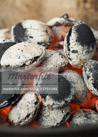 Glowing charcoal.