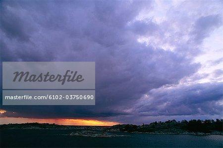 Storm clouds in the archipelago of Stockholm, Sweden.