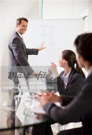 Homme d'affaires, parler à ses collègues dans la salle de conférence