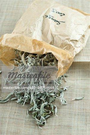 Bag of dried sage leaves