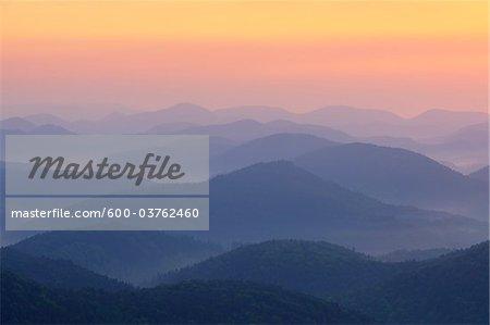Sunrise over Mountains, Nothweiler, Pfalzerwald, Rhineland-Palatinate, Germany