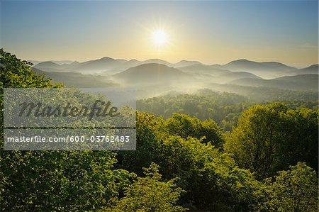 Sunrise over Mountains, Vorderweidenthal, Pfalzerwald, Rhineland-Palatinate, Germany